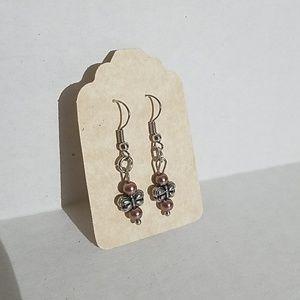 Handmade earrings w butterfly bead J6